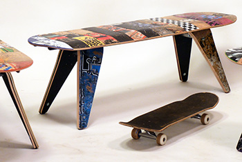 Jason Podlaski Retrash Upcycled Skateboard Bench Seat